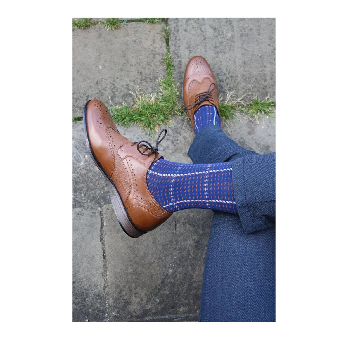 Check Bamboo Socks for Men in Orange & Blue