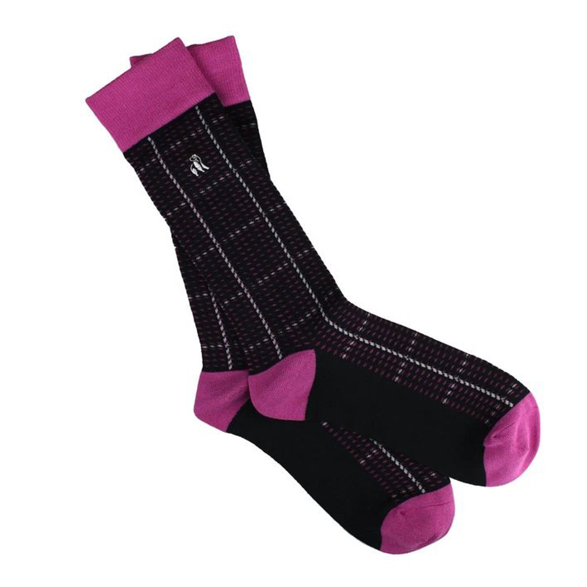 Check Bamboo Socks for Men in Pink & Navy