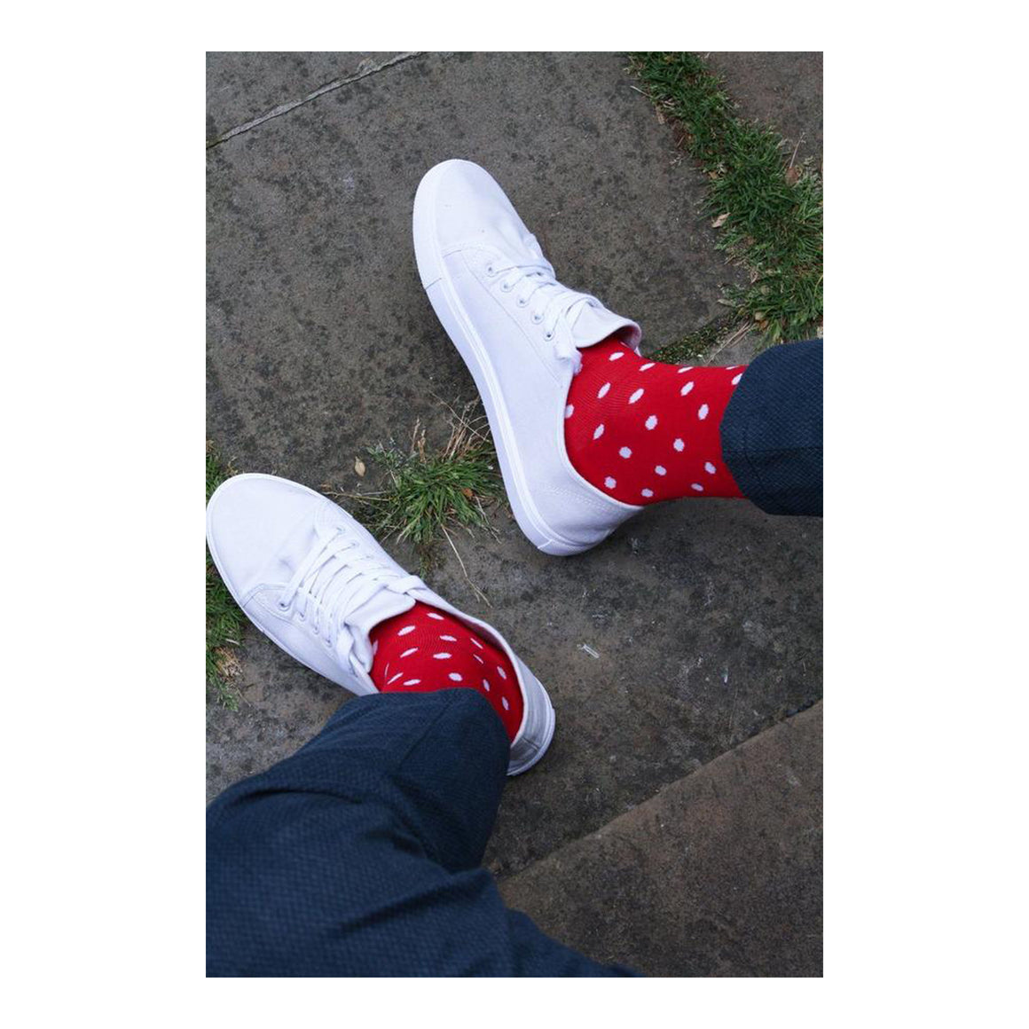 Dot Bamboo Socks for Men in Red