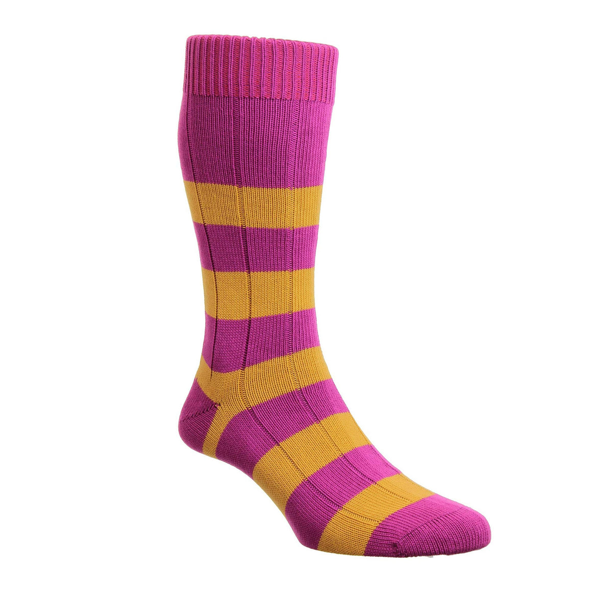 Rugby Stripe Socks for Men in Orchid & Yellow