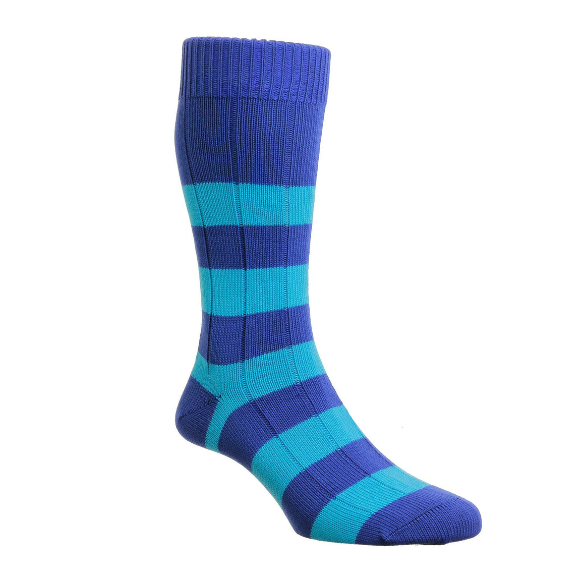 Rugby Stripe Socks for Men in Royal & Blue