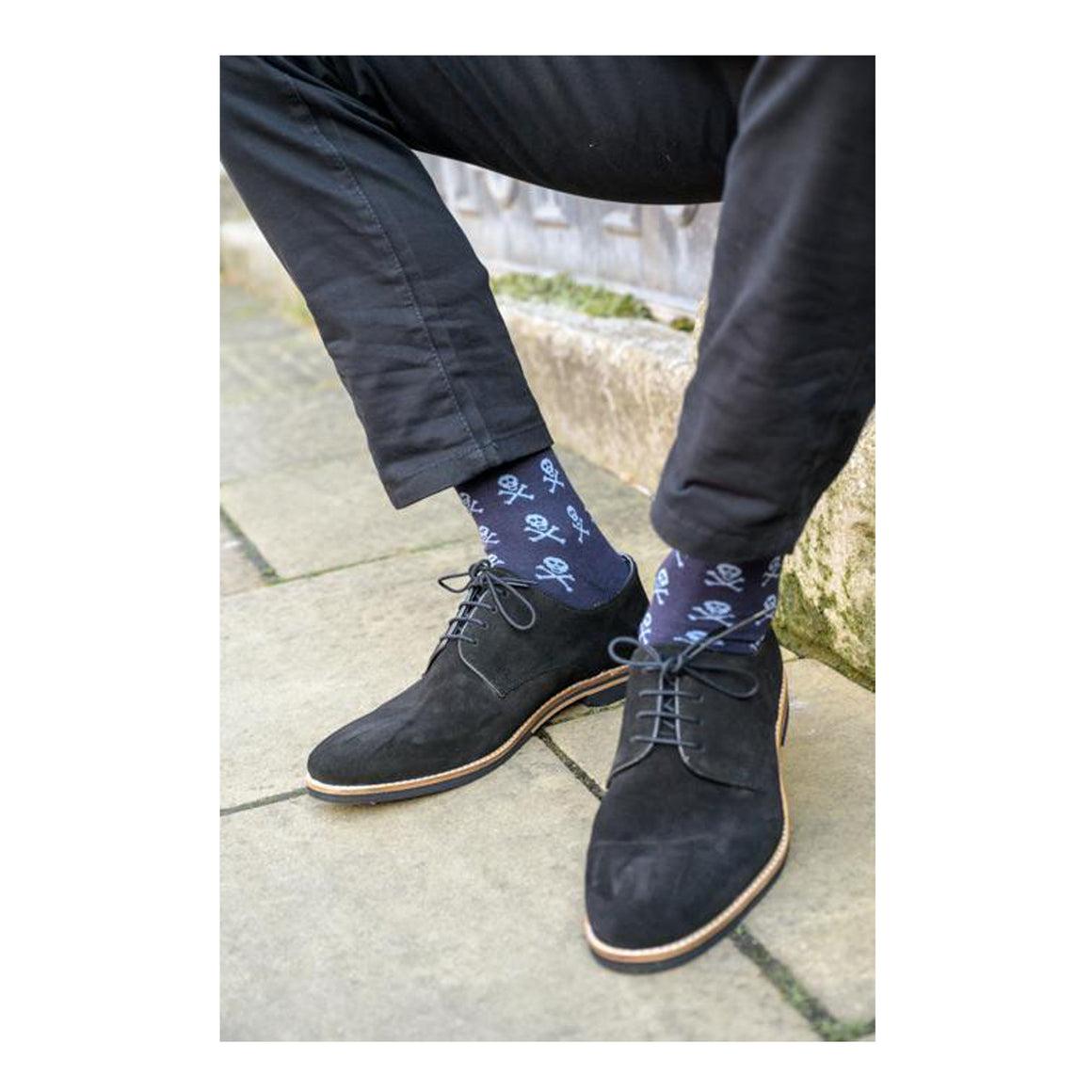 Skull Bamboo Socks for Men in Navy