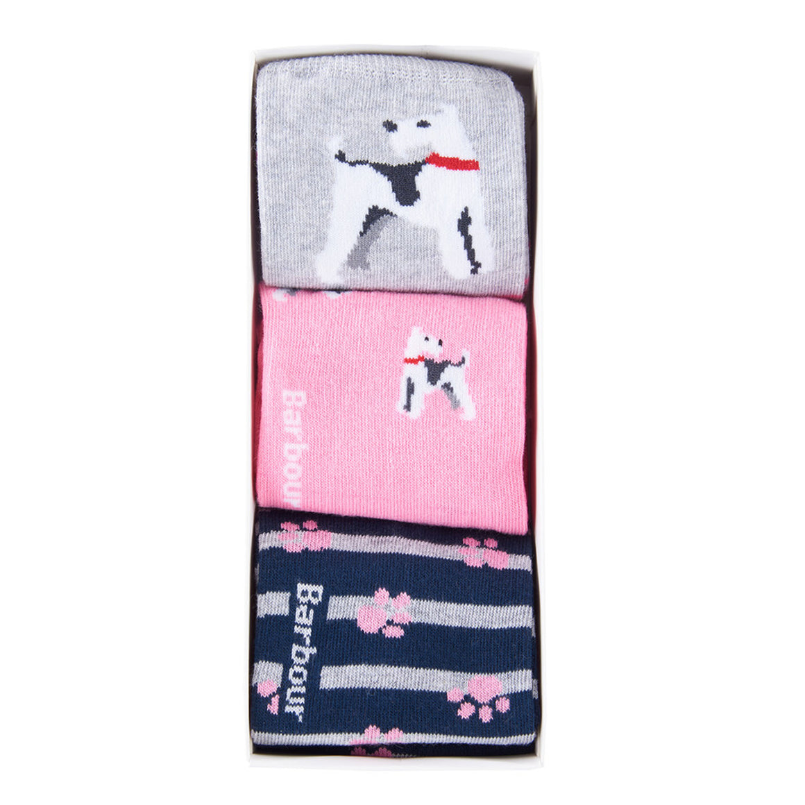 Terrier Paw Sock Giftbox for Women in Pink/Grey/Navy