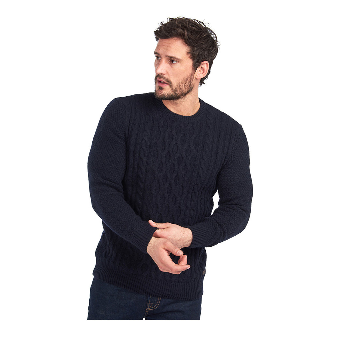 Chunky Cable Crew Jumper for Men in Navy