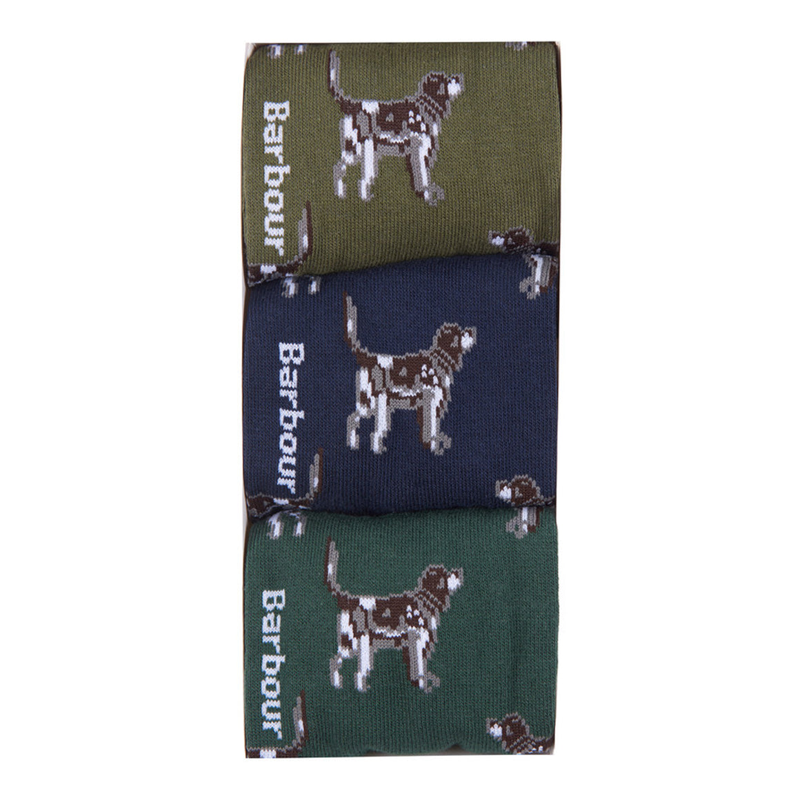 Pointer Dog Socks Gift Box for Men in Olive and Navy