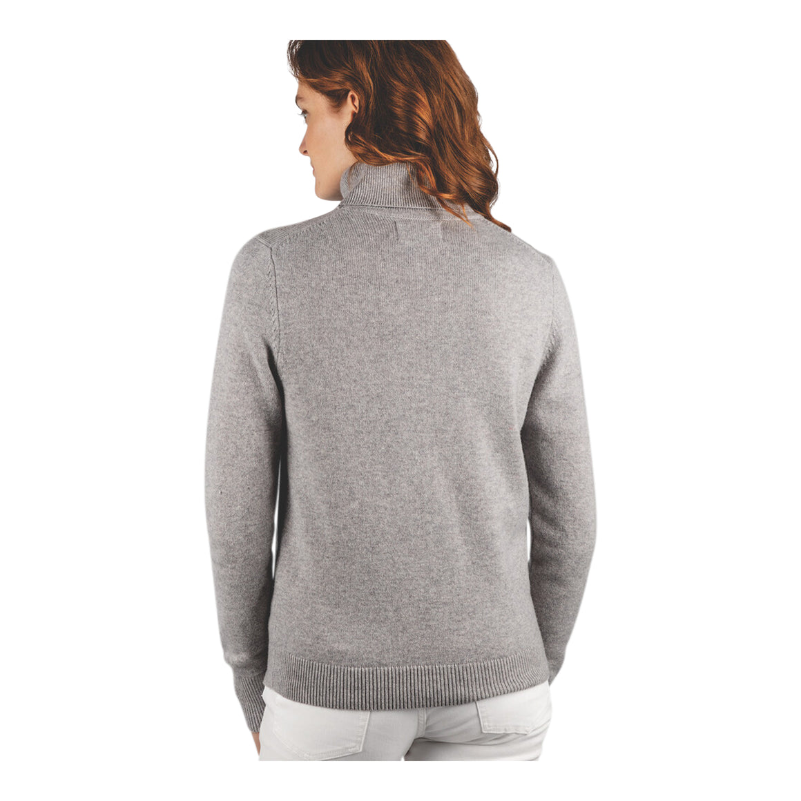 Merino Roll Neck for Women in Silver Grey