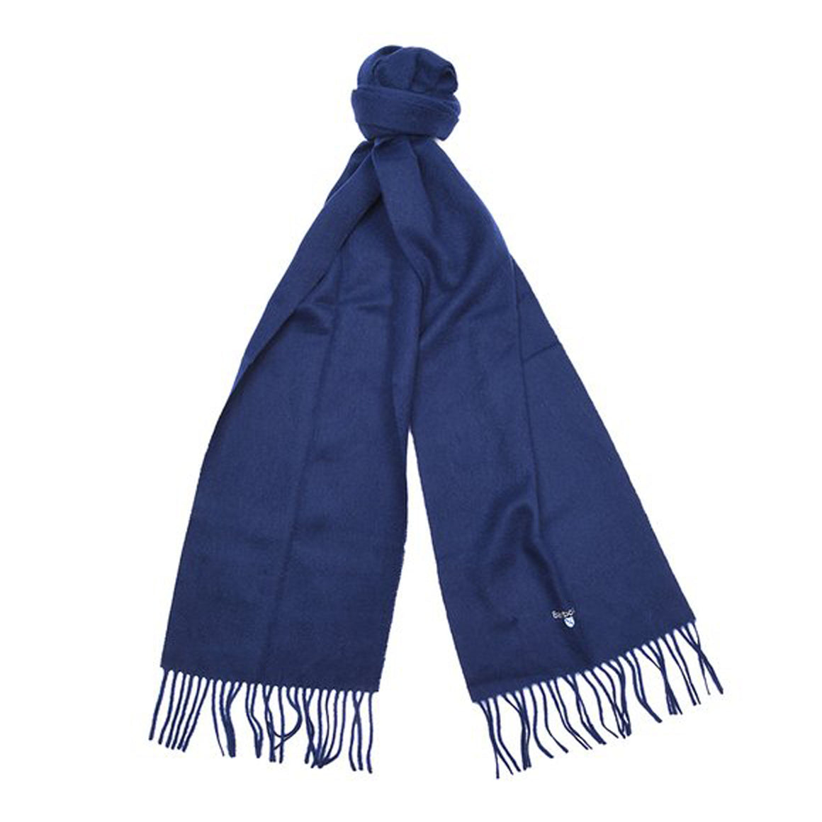 Plain Lambswool Scarf for Men in Navy