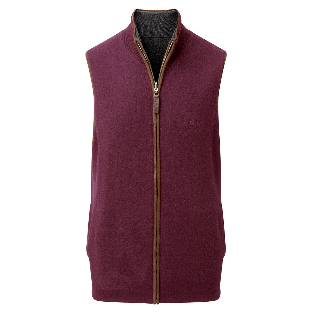Reversible Merino/Cashmere Gilet for Men in Damson/Charcoal