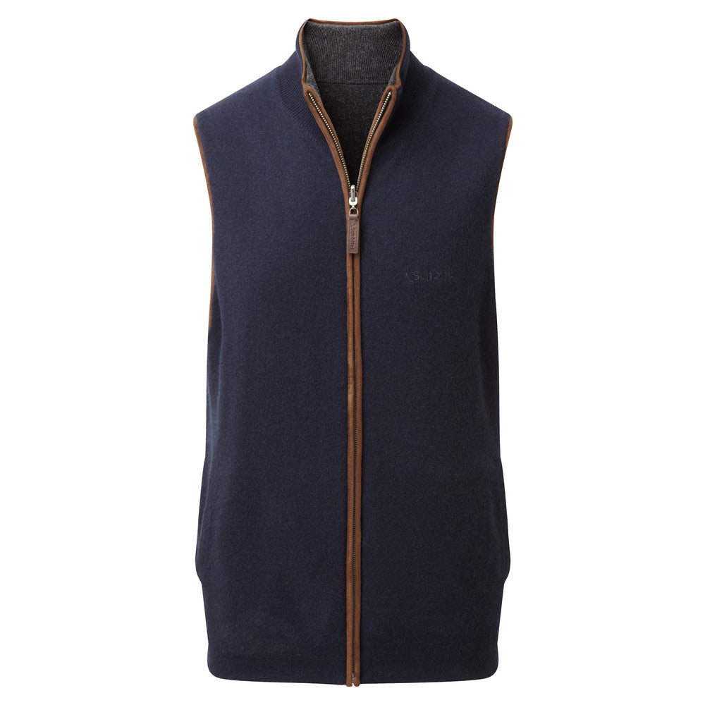 Reversible Merino/Cashmere Gilet for Men in Navy/Charcoal