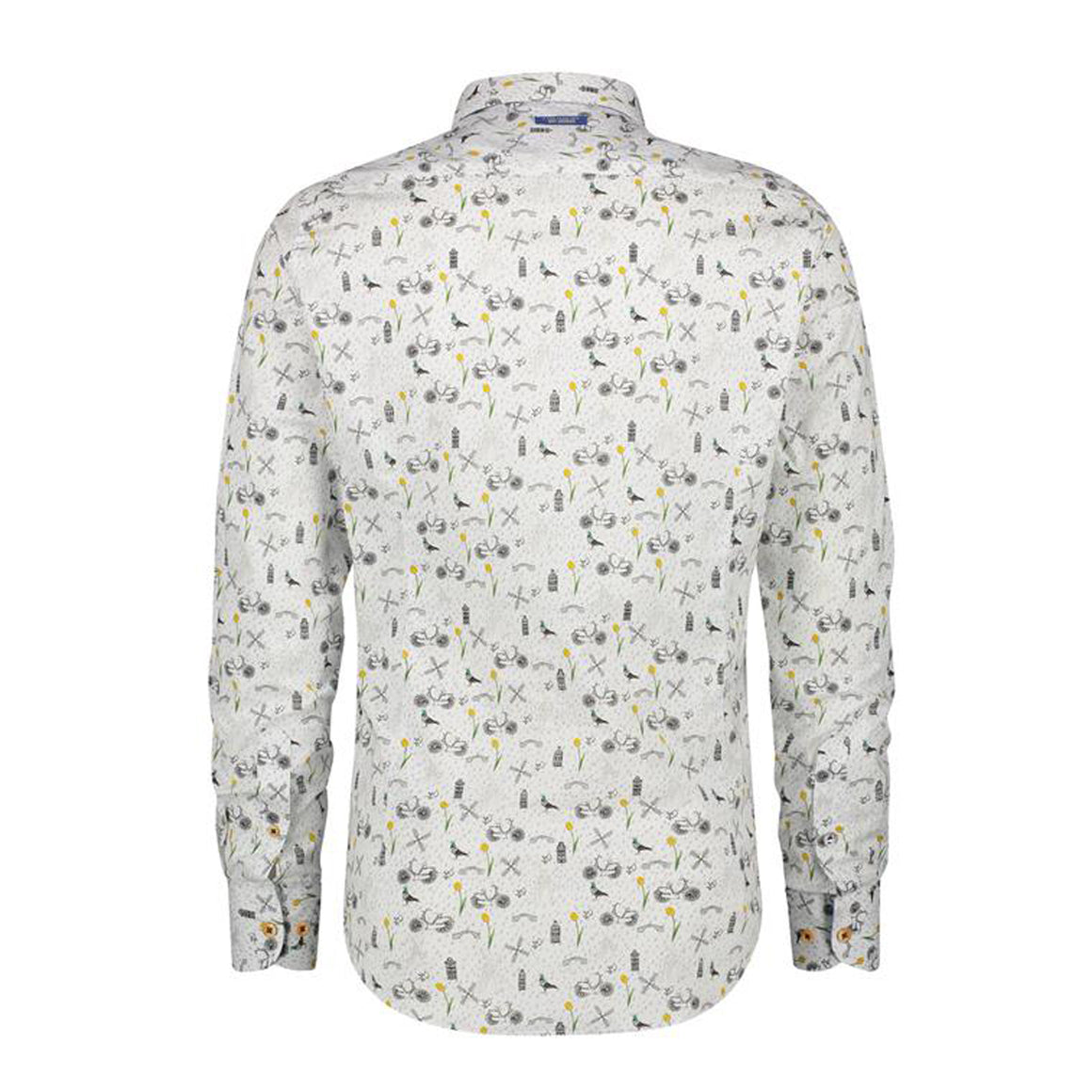 Bikes And Pigeons Shirt for Men in White Multicolour
