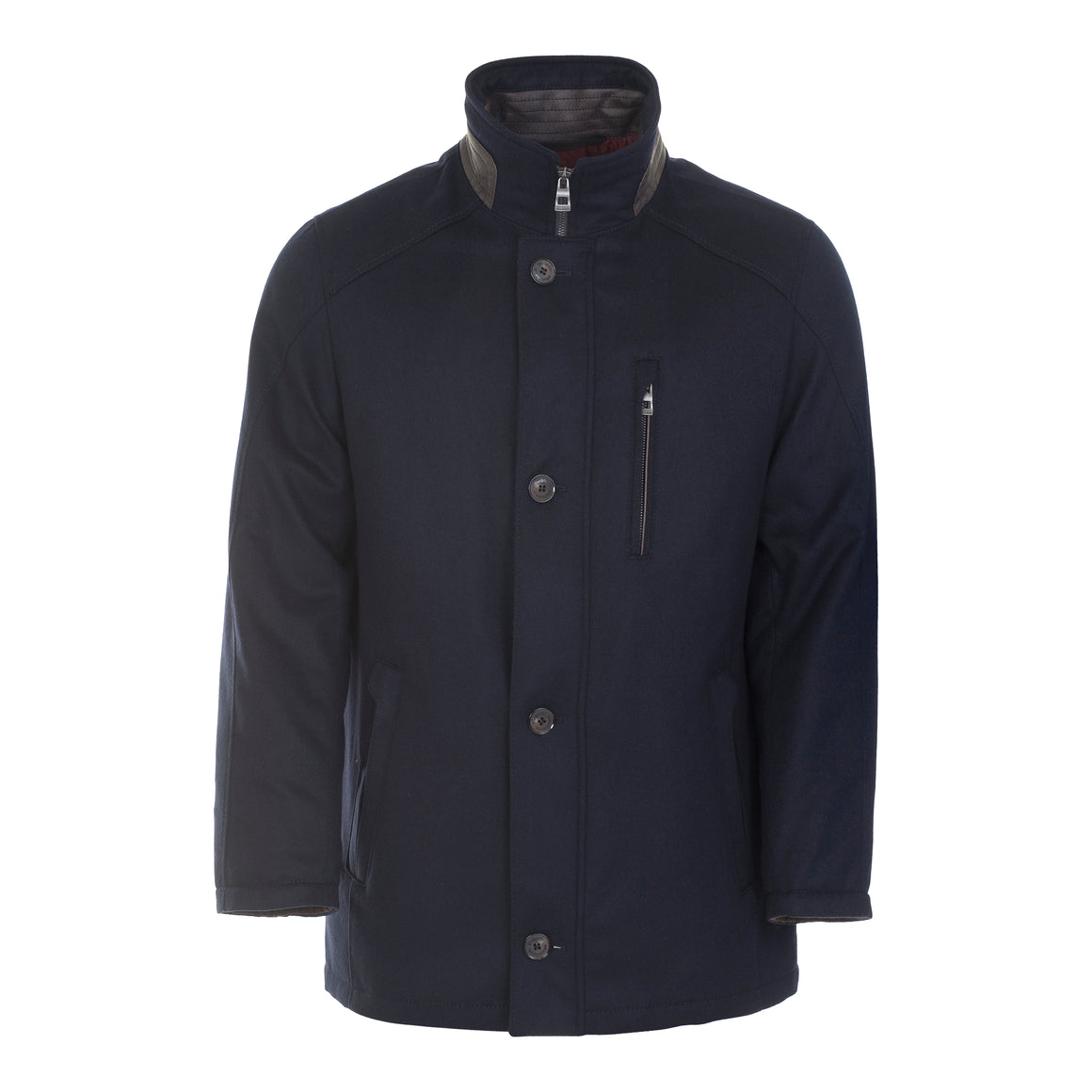 Wool Style Gortex Car Coat for Men in Navy