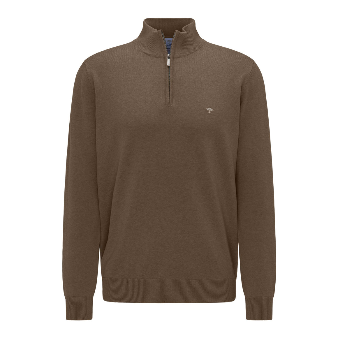 Superfine Cotton Troyer Zip Sweater for Men in Biscotti