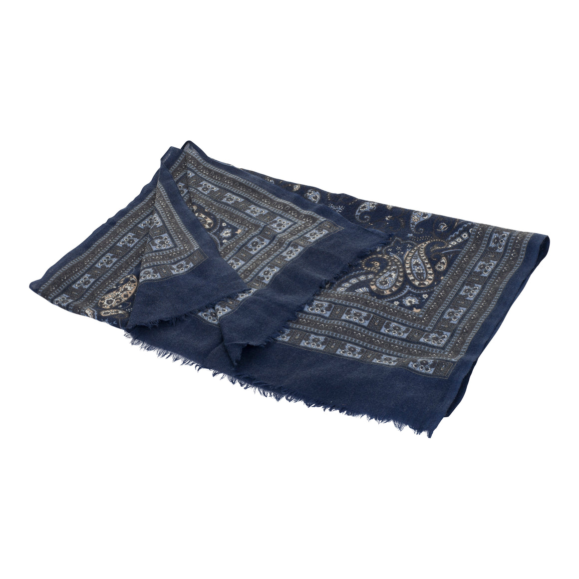 Paisley Scarf With Border for Men in Blue