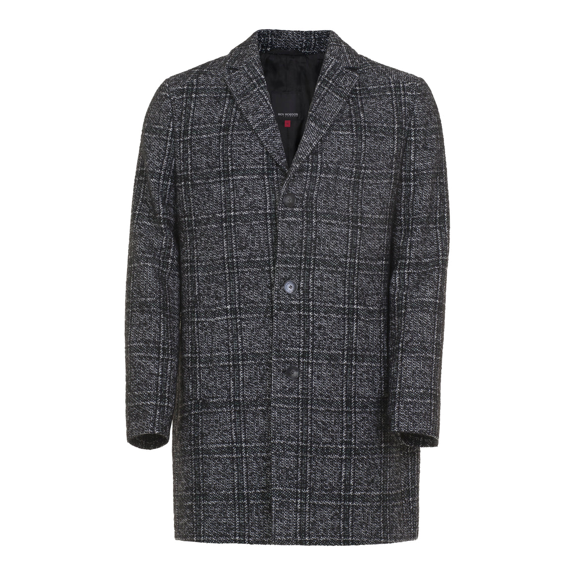 Premium Checked Coat for Men in Charcoal