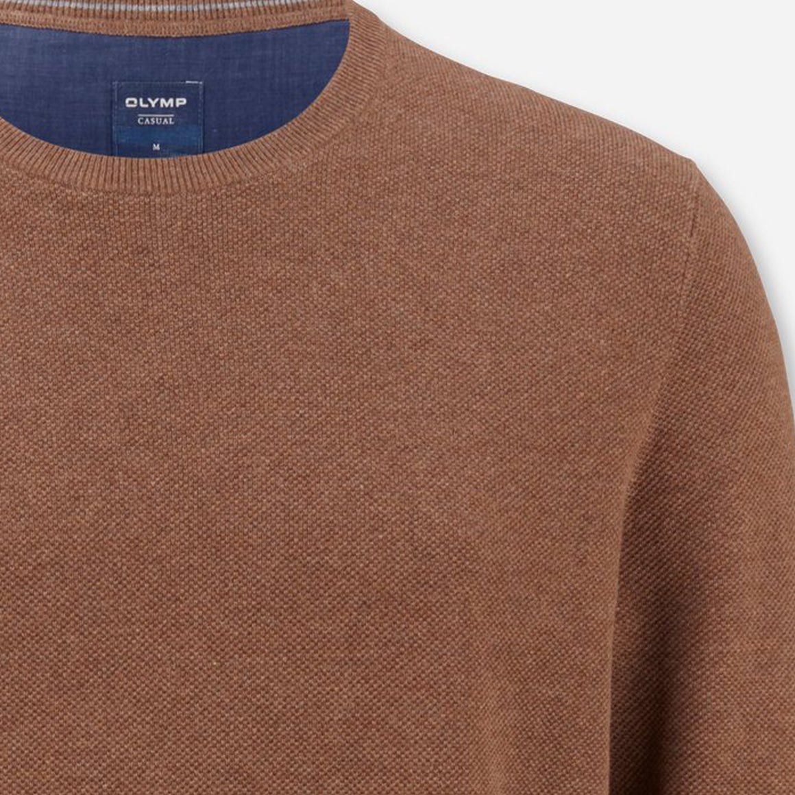 Cotton Crew Neck Sweater for Men in Brown