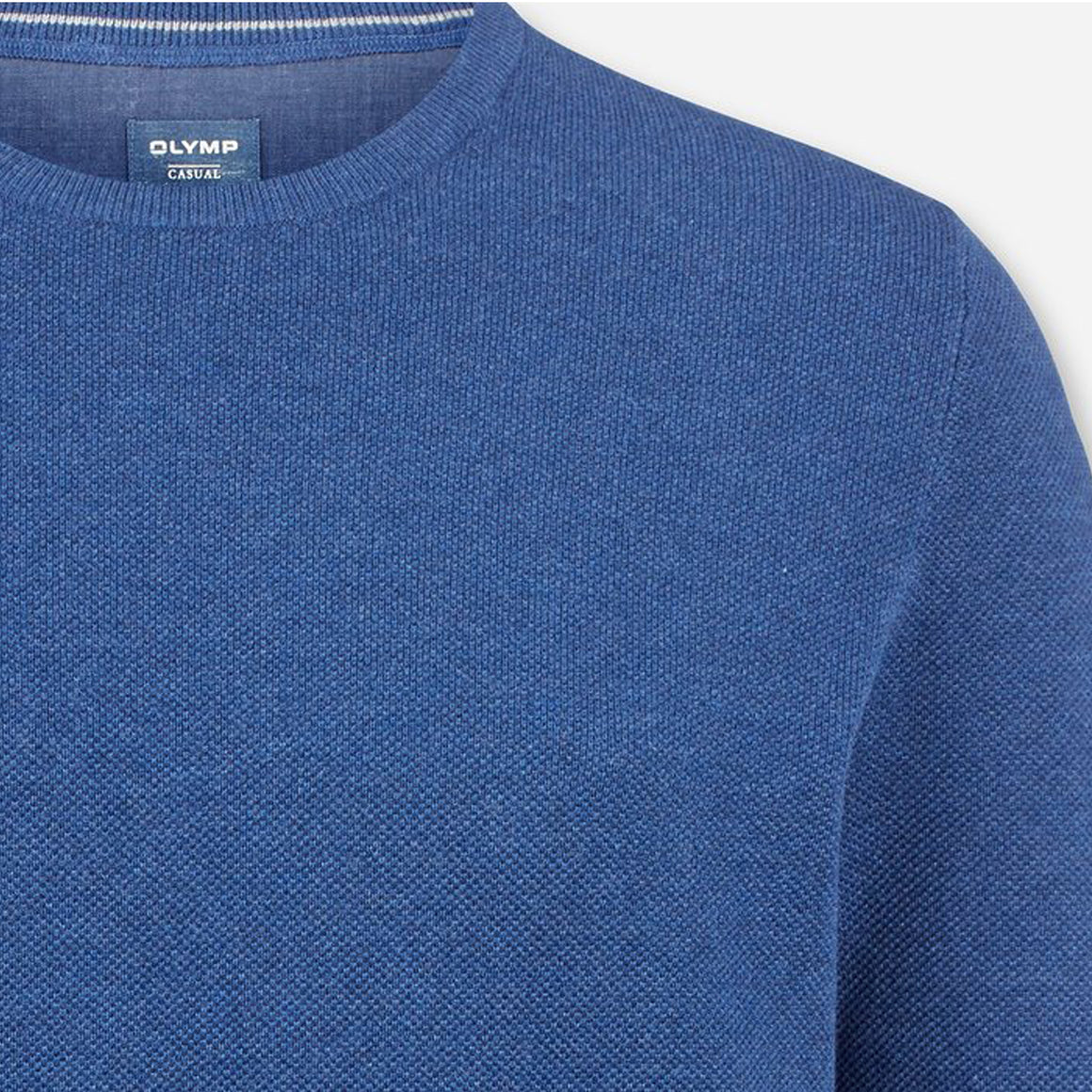 Cotton Crew Neck Sweater for Men in Denim