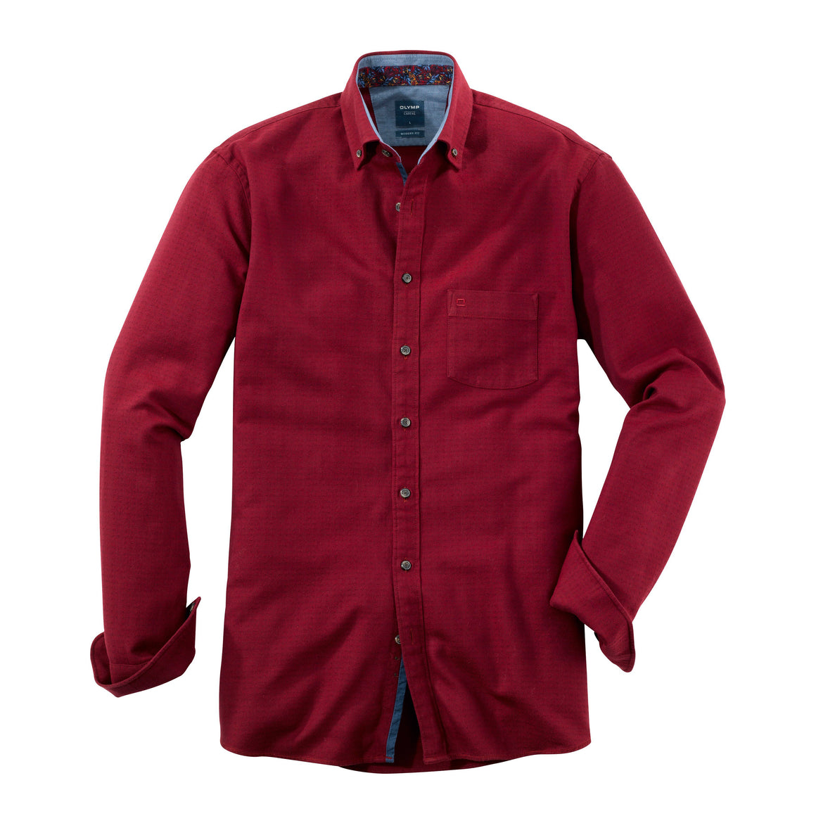 Herringbone Dobby Shirt for Men in Deep Red