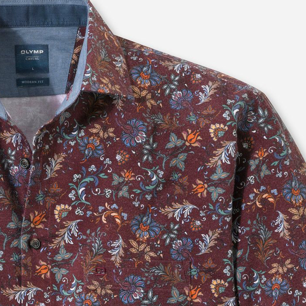 Floral Style Shirt for Men in Deep Red