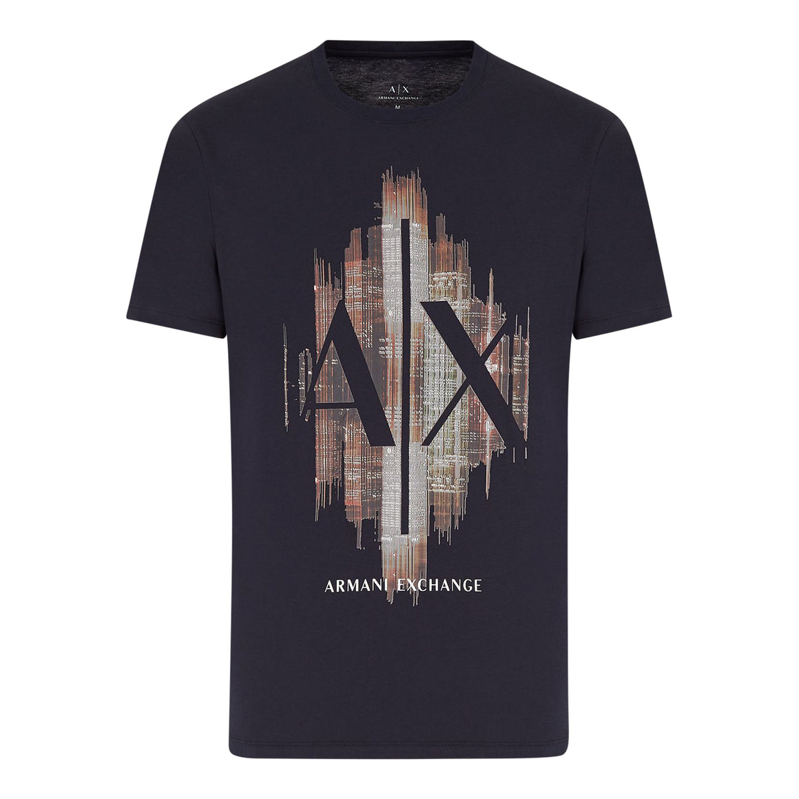 Graphic Print Tee for Men in Navy