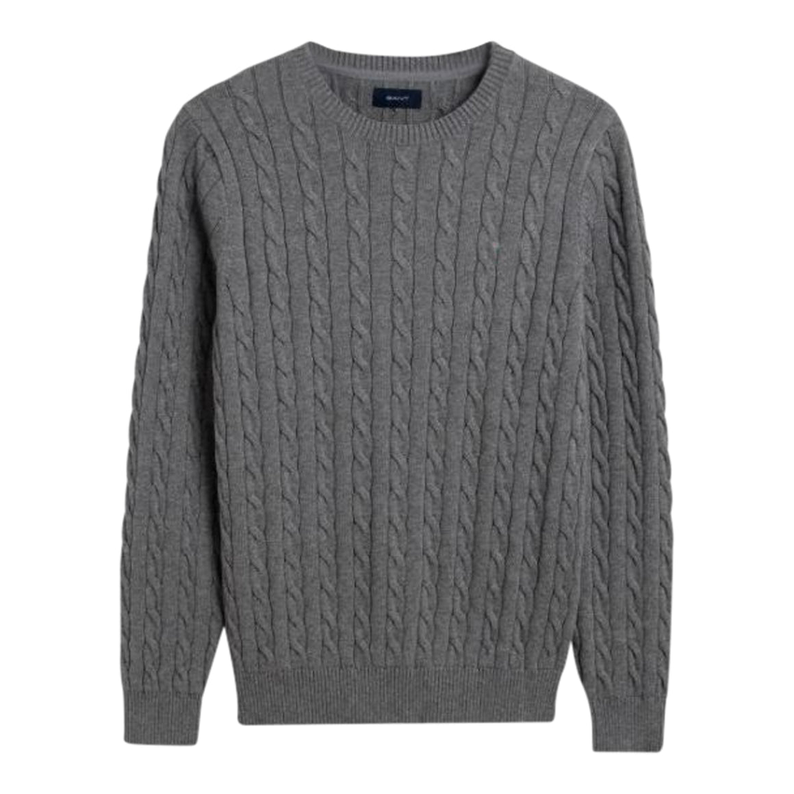 Cotton Cable Crew Neck for Men in Dark Grey Melange