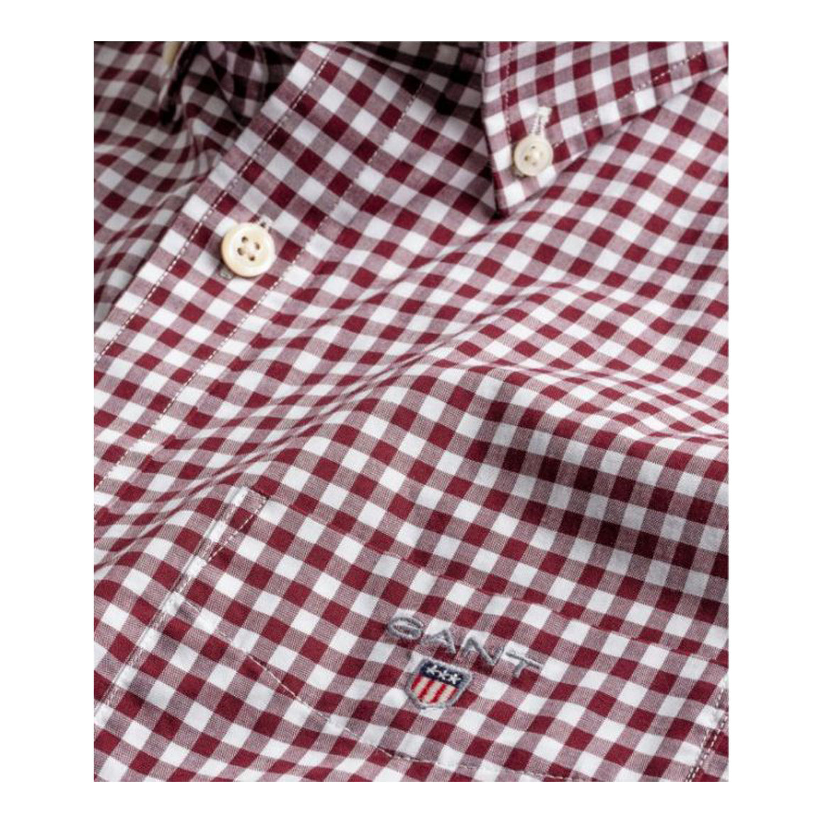 The Broadcloth Gingham Reg BD for Men in Port Red