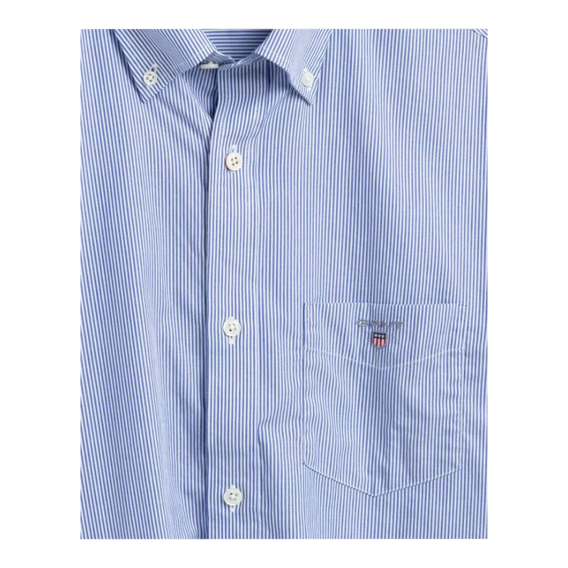 The Broadcloth Banker Stripe Shirt for Men in College Blue