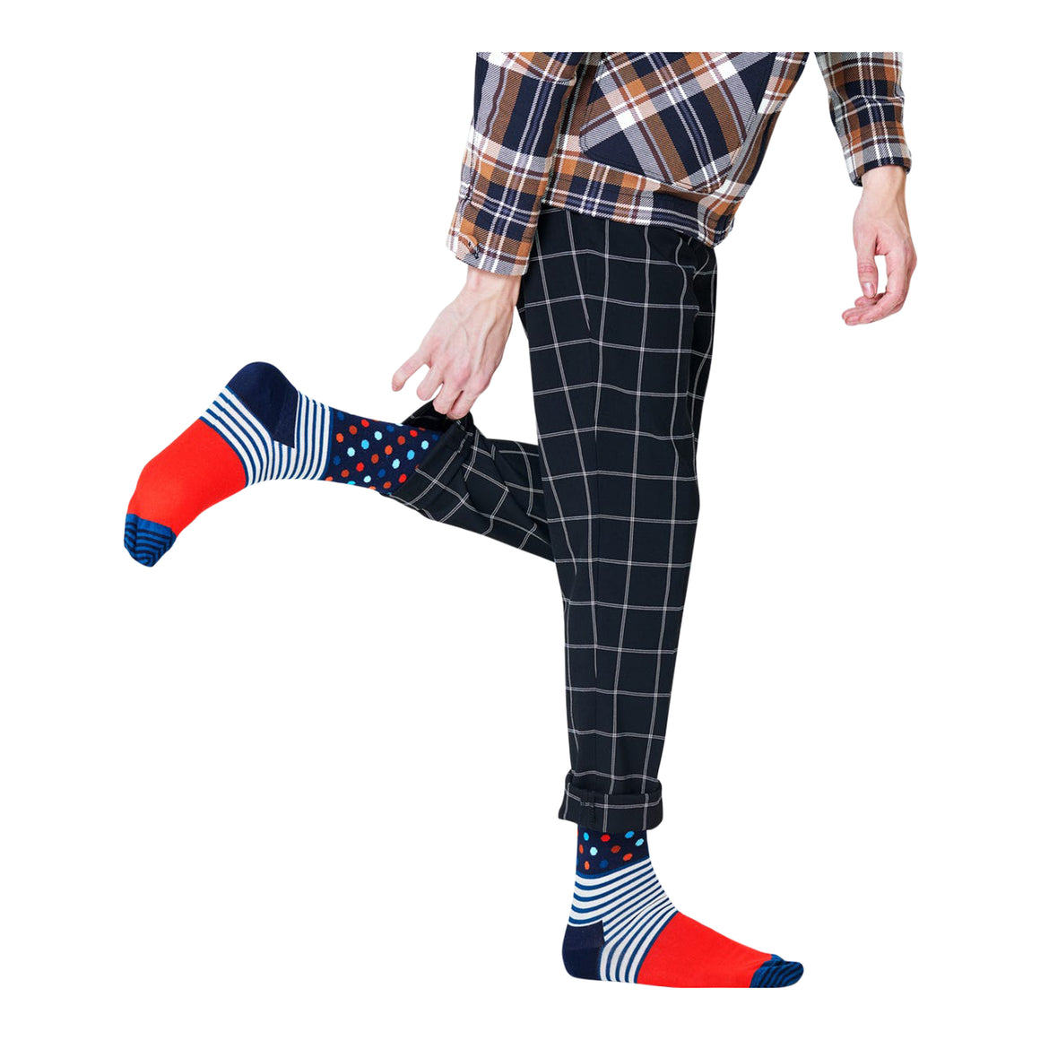 Stripes And Dots Socks for Men in Navy