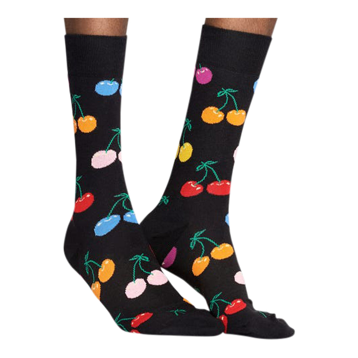 Cherry Socks for Men in Black