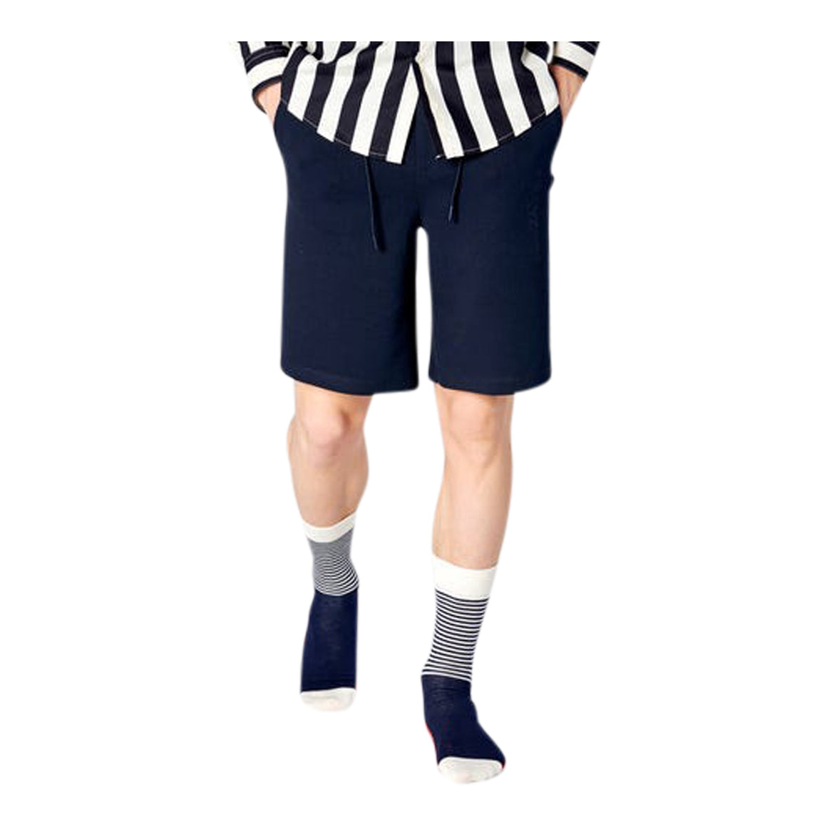 Half Stripe Socks for Men in Navy & Red