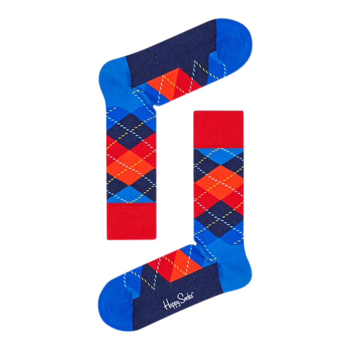 Argyle Socks for Men in Blue & Orange