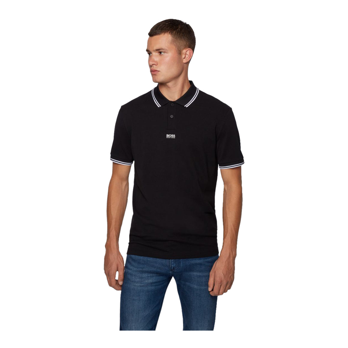 Pchup Tipped Polo for Men in Black