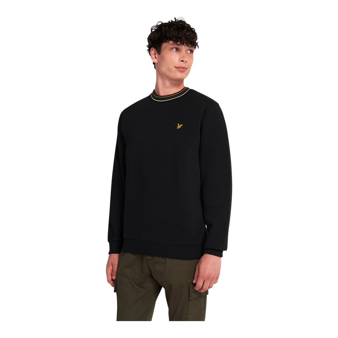 Pique Sweatshirt With Tipping for Men in Black