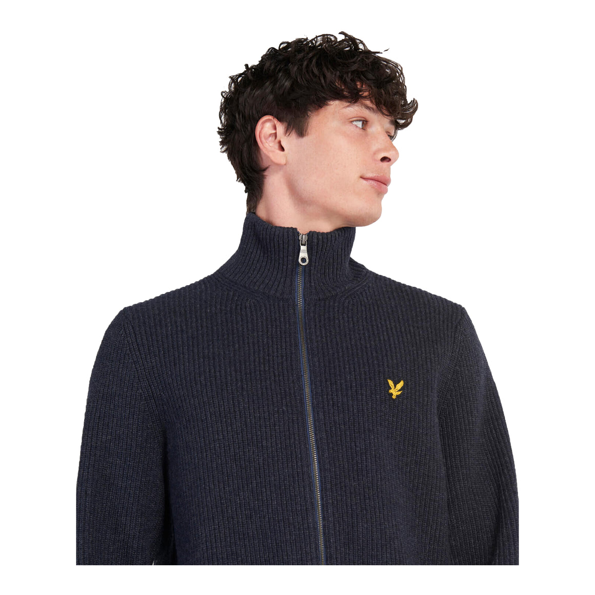 Knitted Rib Zip Cardigan for Men in Navy