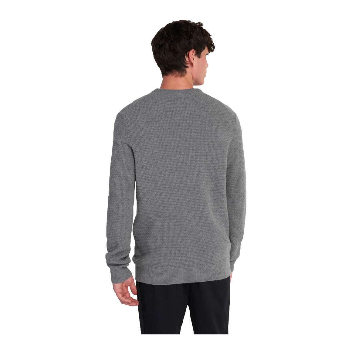 Basket Weave Jumper for Men in Grey