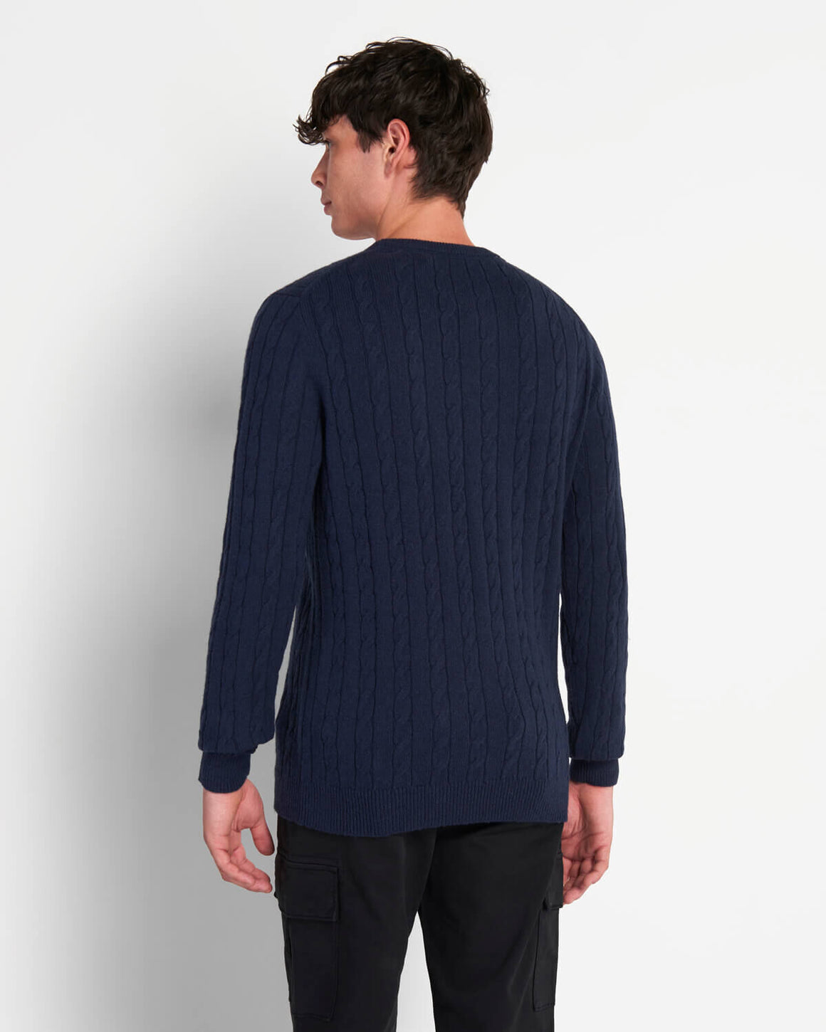 Cable Knit Jumper for Men in Navy