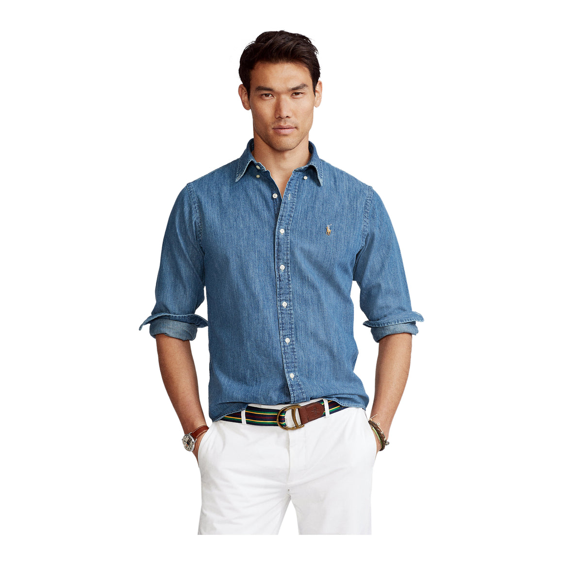 Long Sleeve Denim Shirt for Men in Blue