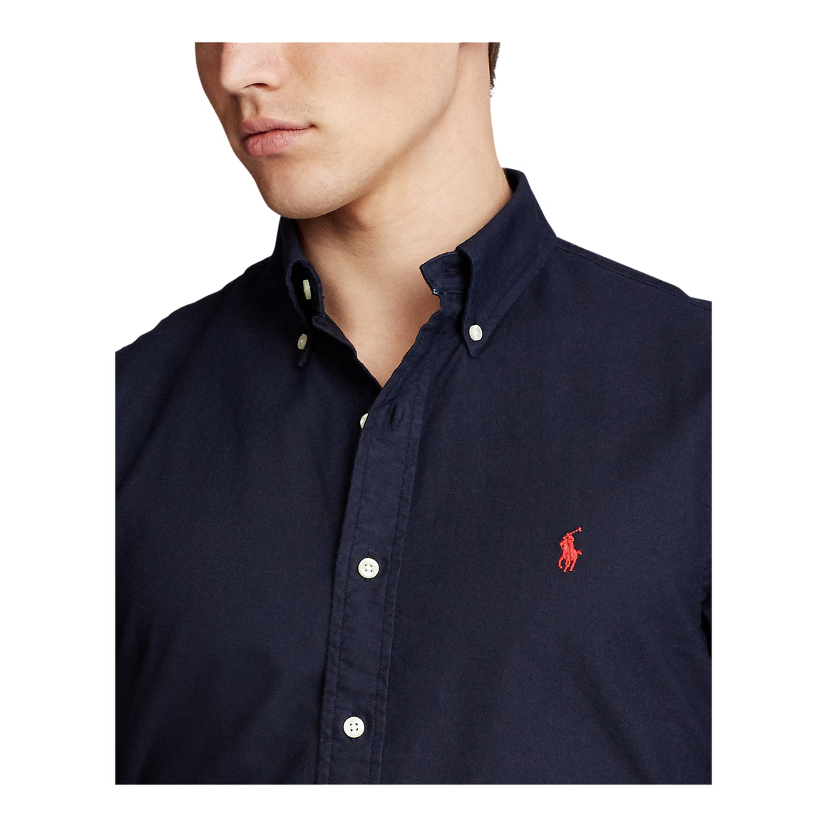 Garment Dyed Oxford Shirt for Men in Navy
