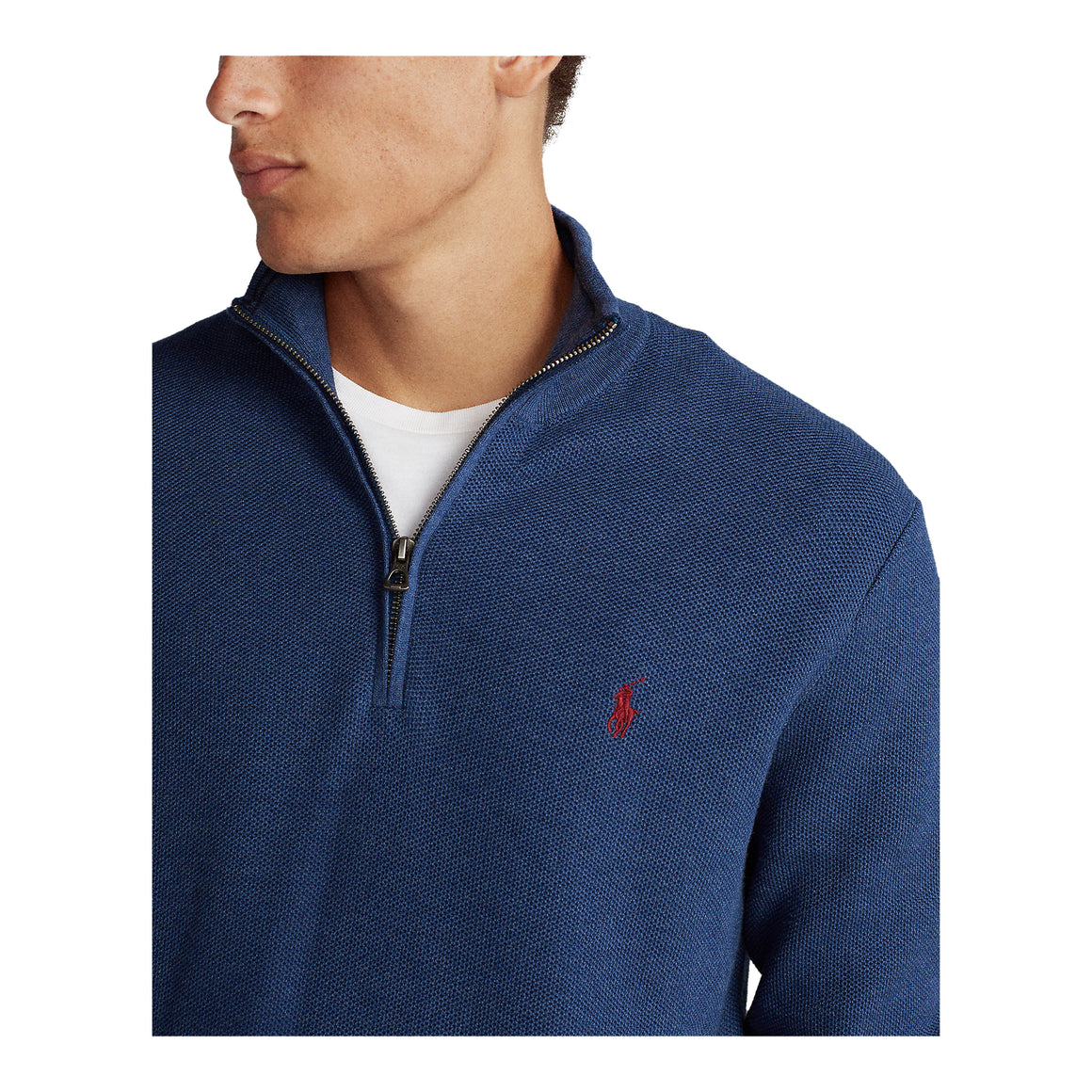 Pima 1/2 Zip Knit for Men in Navy