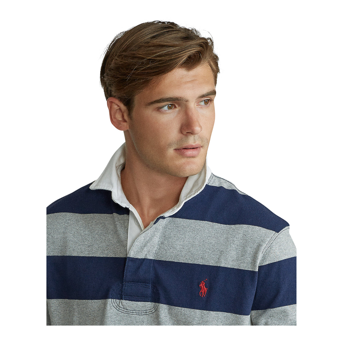Stripe Rugby Top for Men in Navy & Grey