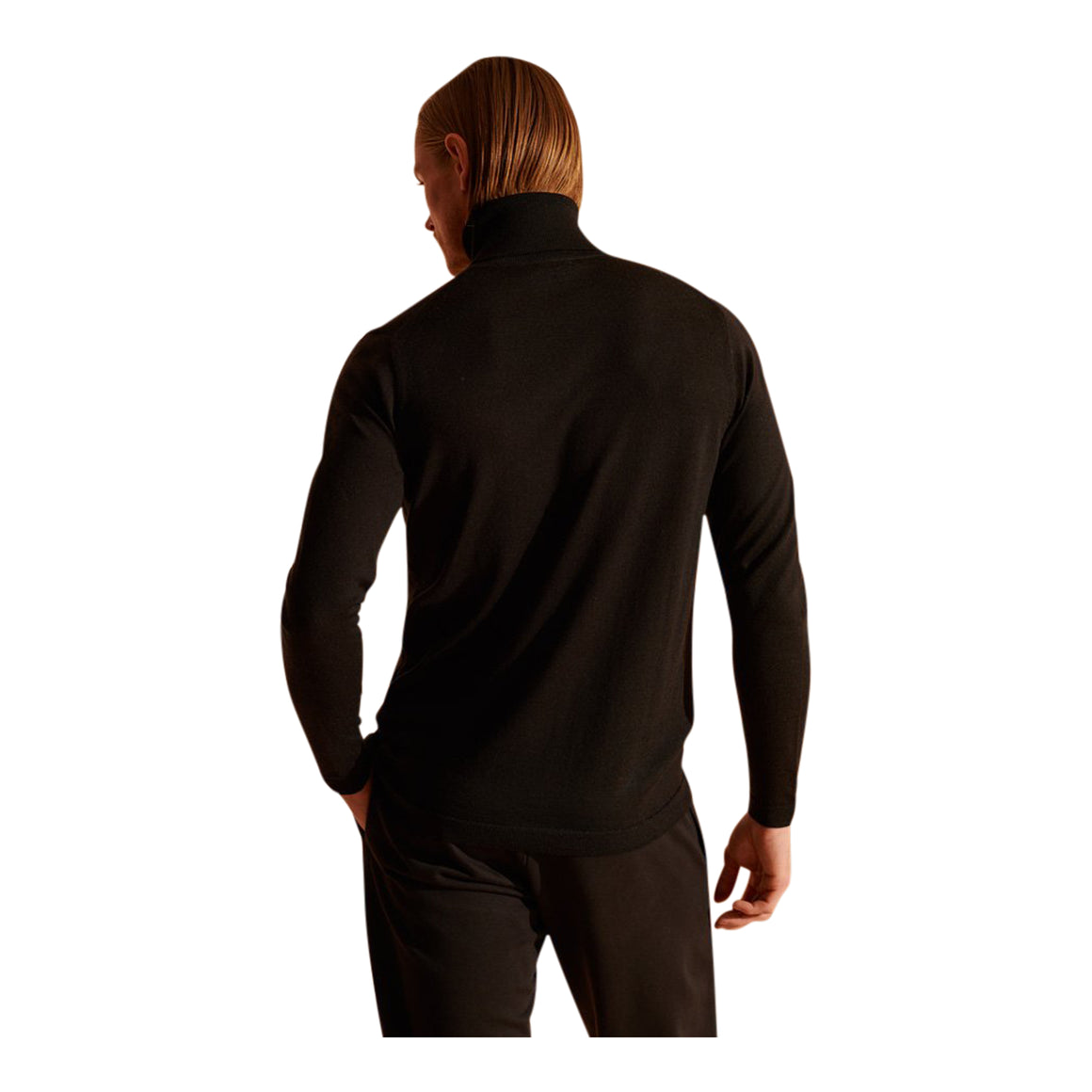 Merino Rollneck for Men in Nightwatch Black