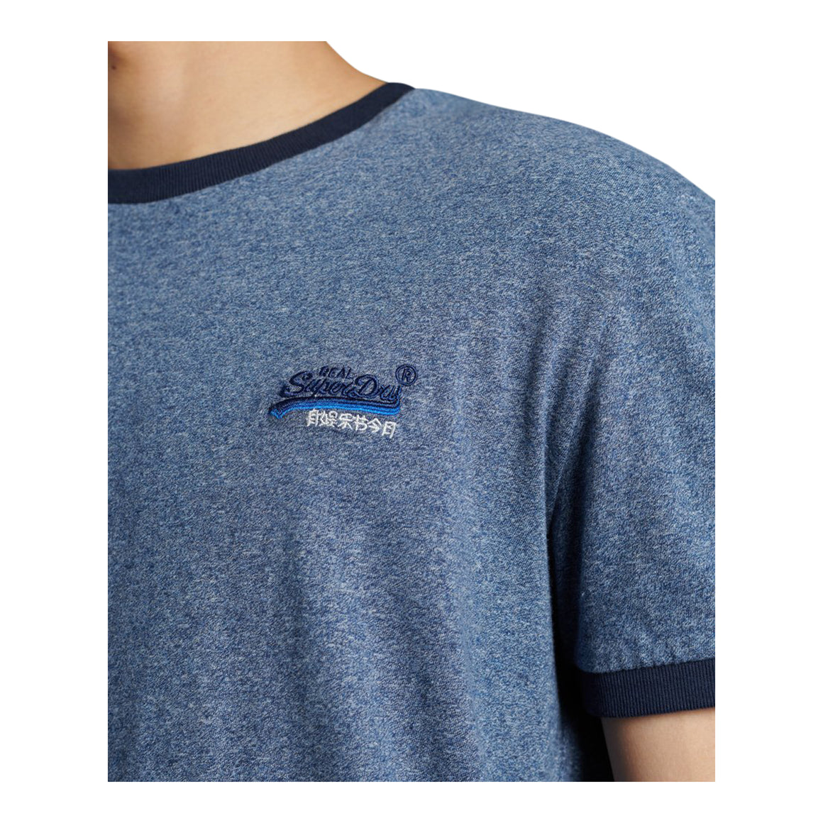 OL Ringer Tee for Men in Vintage Deep Blue Grit