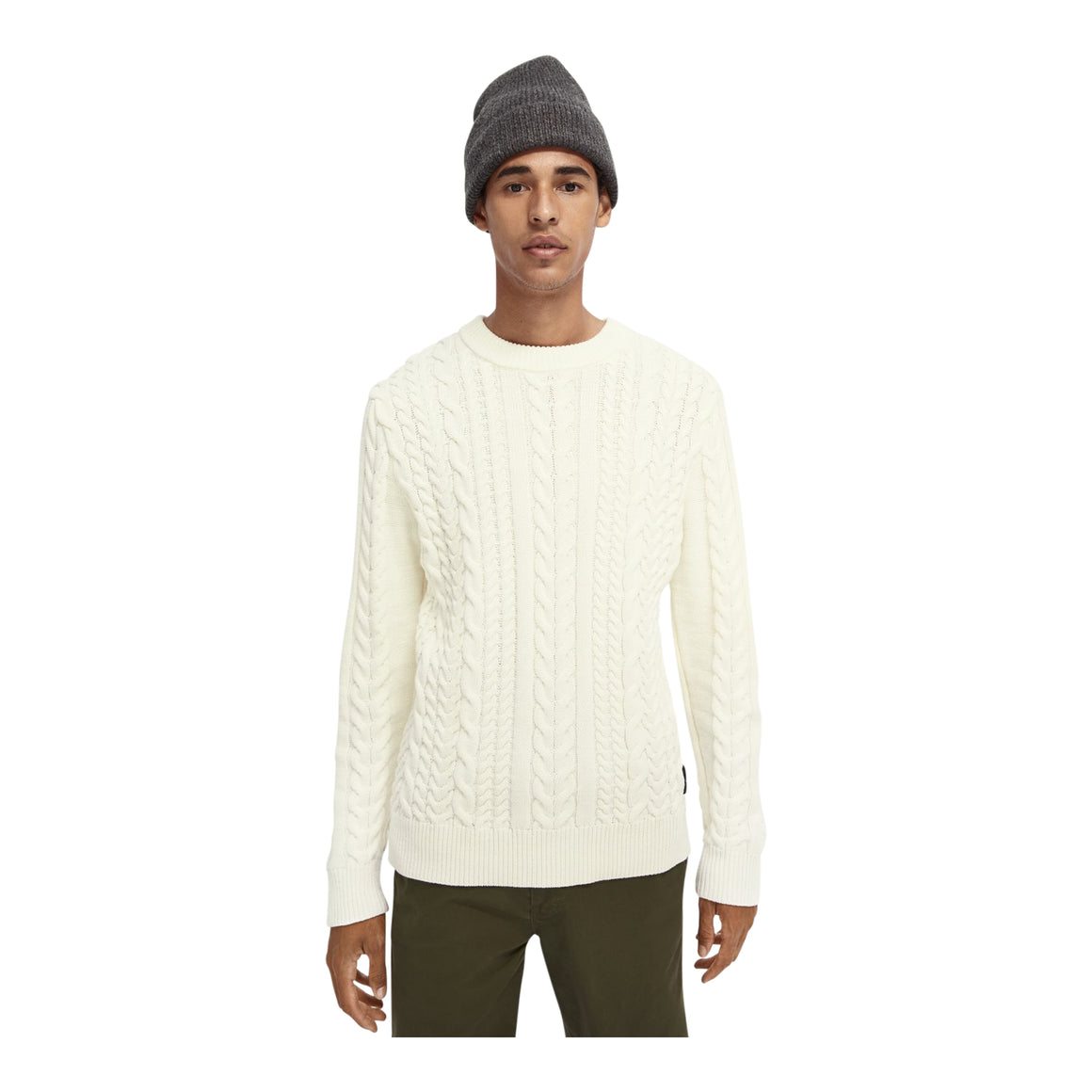 Cable Knit Jumper for Men in Off White
