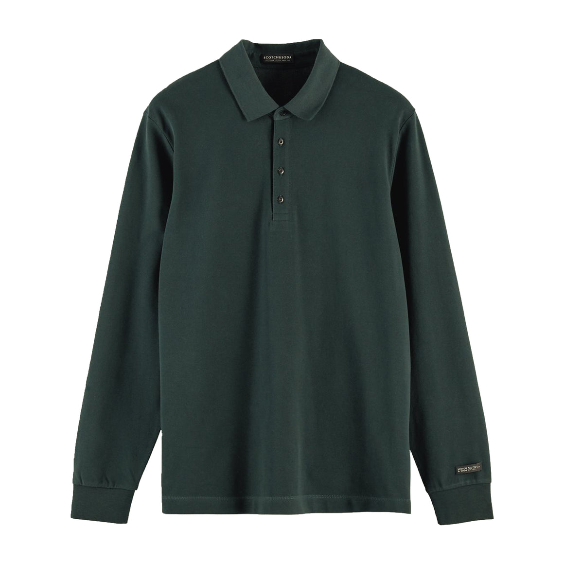 Long Sleeve Pique Polo for Men in Fern