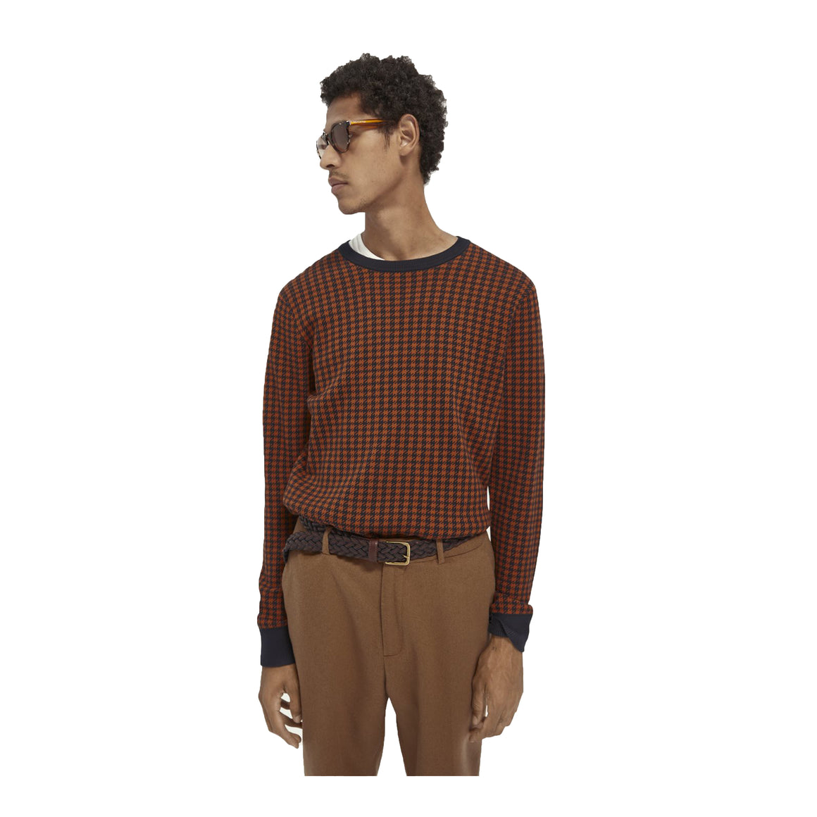 Dog Tooth Check Jumper for Men in Navy & Orange