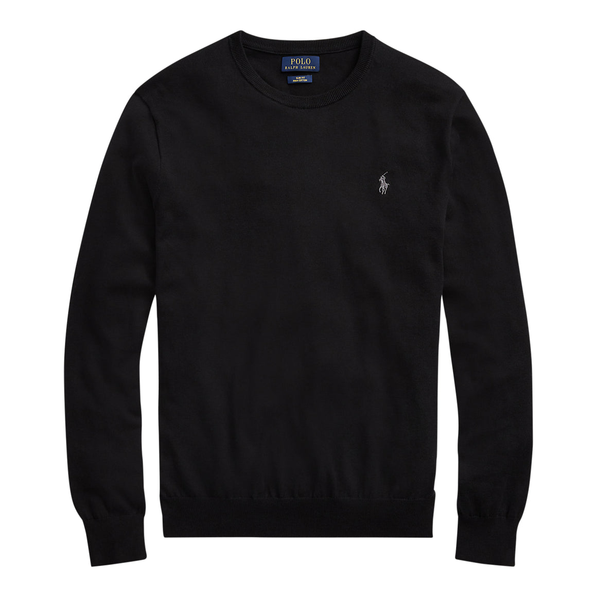 Slim Fit Cotton Sweater for Men in Black