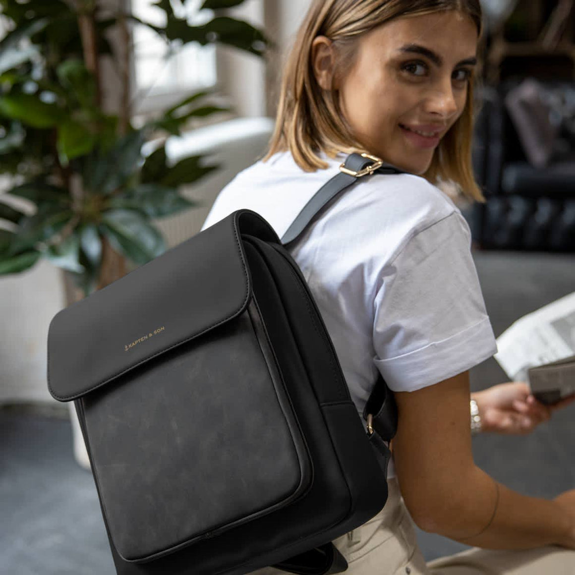 Tromso Small Backpack for Men and Women in Black
