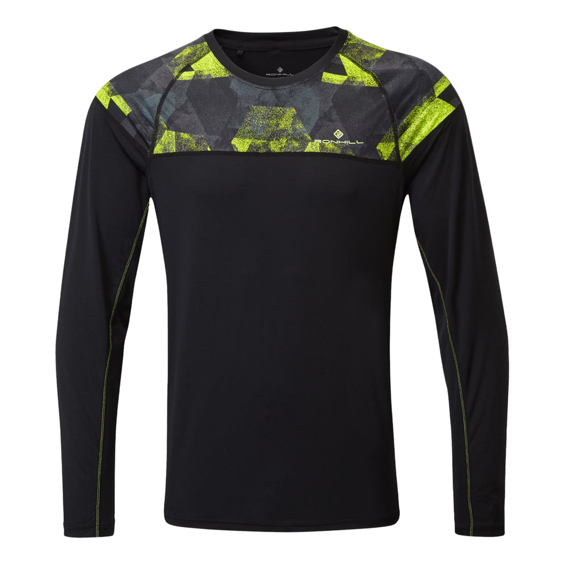 Tech Revive Long Sleeve Tee for Men in Black/Fluo Yellow