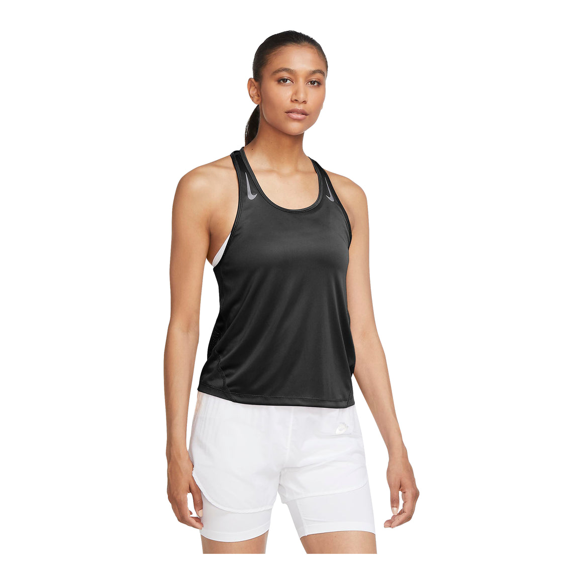 Miler Running Singlet for Women in Black/Reflective Silver