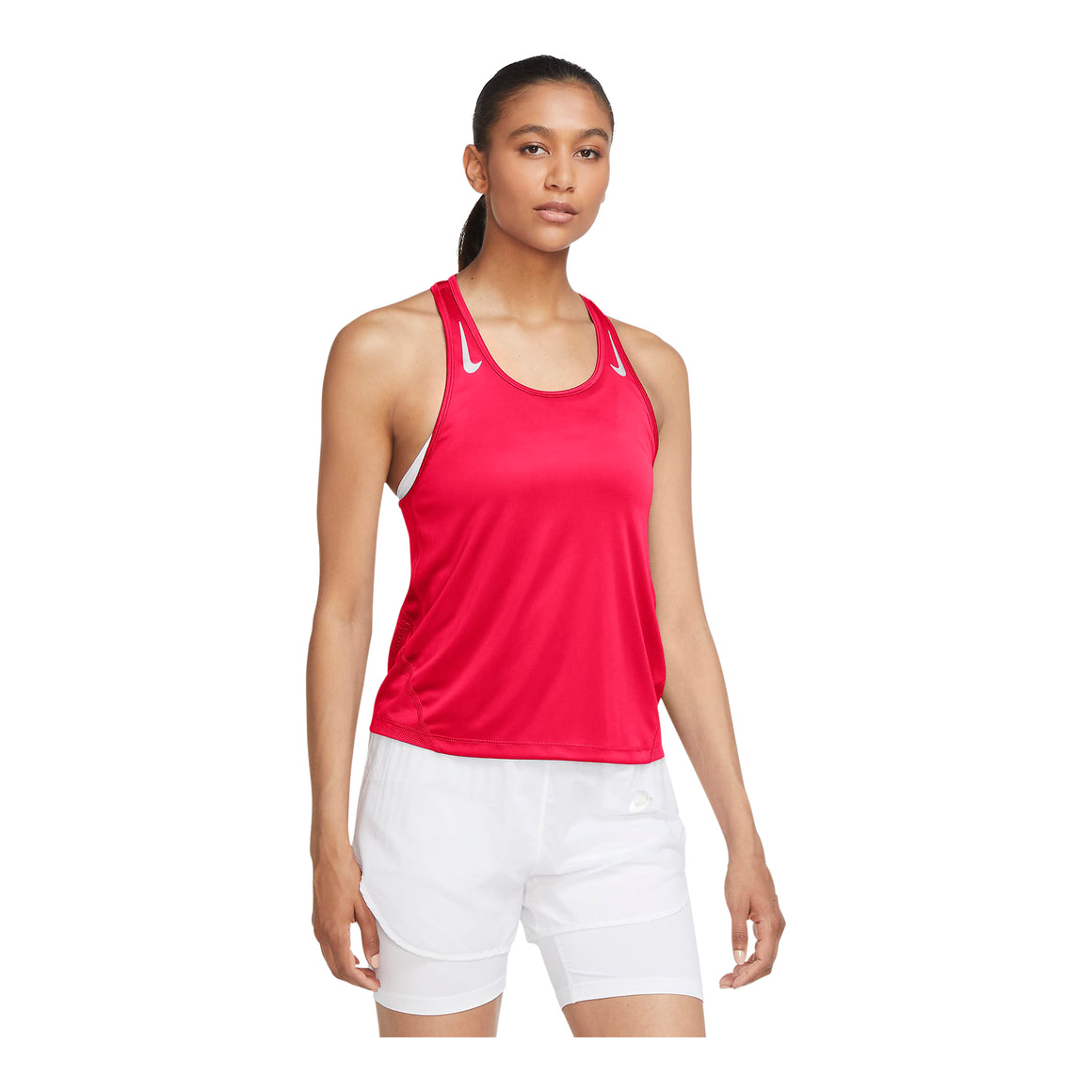 Miler Running Singlet for Women in Bright Crimson/Reflective Silver