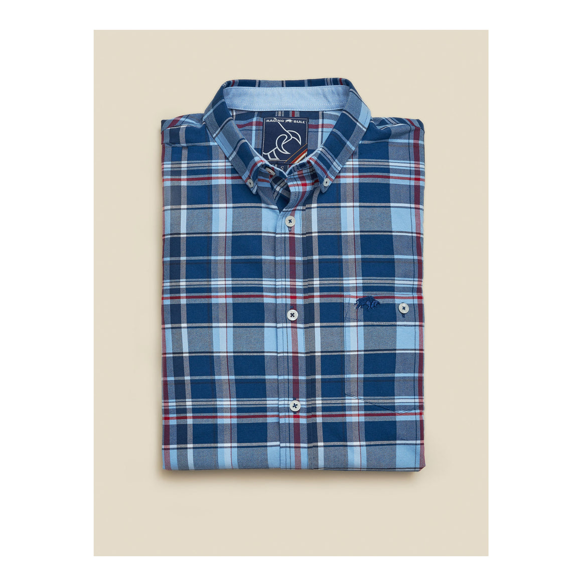 Overcheck Oxford LS Shirt for Men in Mid Blue
